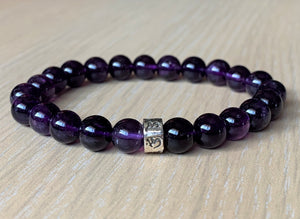 Top Amethyst Crystal Gemstone Sacred Tibetan Om sign Sterling Silver Bead Bracelet