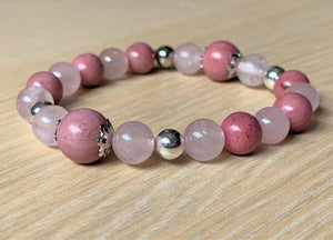 Rhodonite and Rose Quartz Crystal Gemstone Silver Bead Bracelet