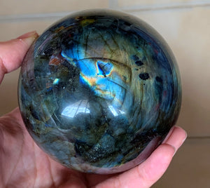 Big Flashy Rainbow Labradorite Crystal Sphere LAB10167
