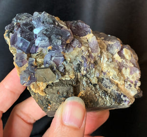 Raw Purple Fluorite and Gold Pyrite Crystal Matrix Cluster Mineral Specimen FLR10324