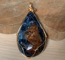 Pietersite Gemstone Gold Plated Wire Wrapped Pendant - PS10105