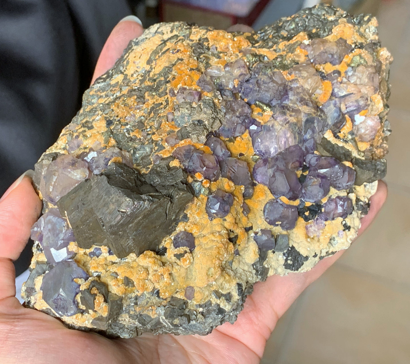 Big Raw Purple Fluorite and Chalcopyrite Pyrite Crystal Matrix Cluster Mineral Specimen FLR10325