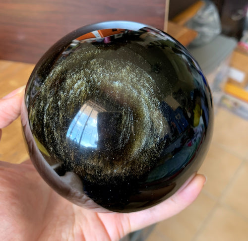 Large Gold Sheen Obsidian Stone Crystal Sphere - GOB10180