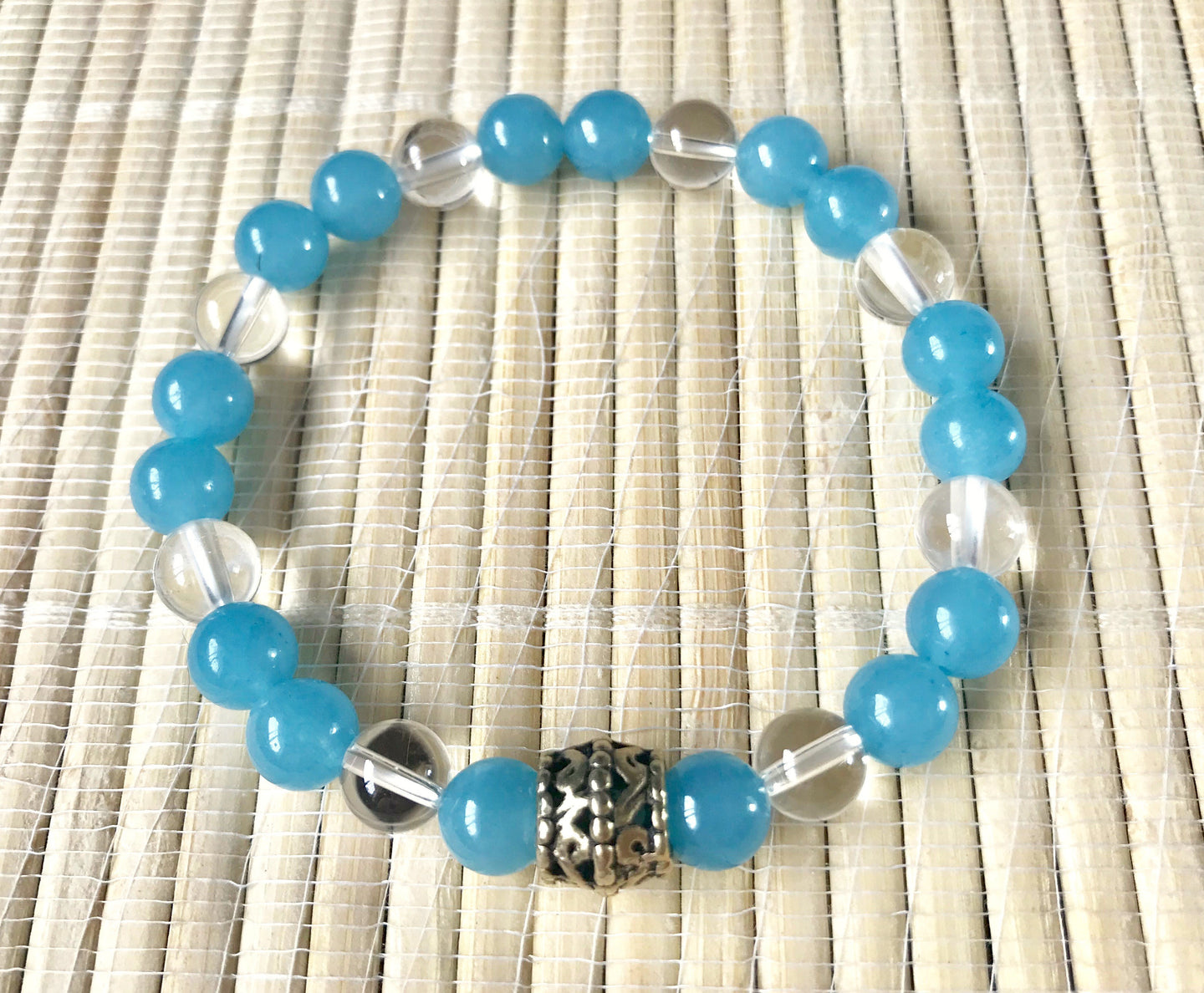 Aquamarine and Clear Quartz Stone of Courage, Protection, Communication Crystal Beads Bracelet
