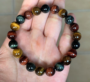 Triple Gold Yellow, Blue and Red Tiger Eye Crystal Beads Stretchable Bracelet