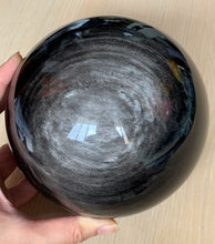 145mm Large Silver Sheen Obsidian Crystal Sphere Stone Decor - SOB10131
