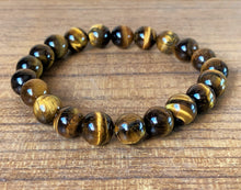 Gold Yellow Tiger Eye Crystal Beads Stretchable Bracelet