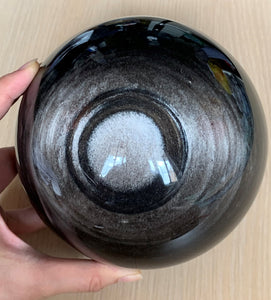 150mm Large Silver Sheen Obsidian Crystal Sphere Stone Decor - SOB10130