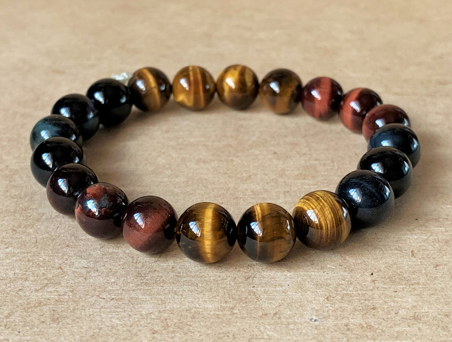 Triple Blue, Red and Gold Yellow Tiger Eye Crystal Beads Stretchable Bracelet