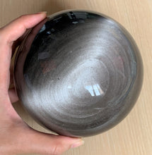 130mm Large Silver Sheen Obsidian Crystal Sphere Stone Decor - SOB10132