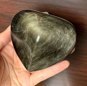 Big Gold Sheen Obsidian Heart Crystal Stone Palm Stone - GOB10182
