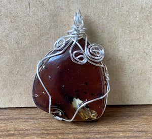 Blue Red Amber Silver Wire Wrapped Crystal Stone Pendant - AMBP10100