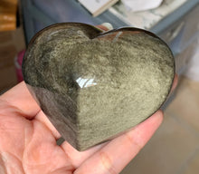 Big Gold Sheen Obsidian Heart Crystal Stone Palm Stone - GOB10158