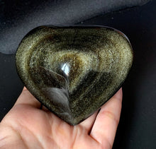 Big Gold Sheen Obsidian Heart Crystal Stone Palm Stone - GOB10159