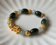 A Grade Green and Yellow and White Jadeite Jade Gold Pixiu Dragon Bead Bracelet JDB10104