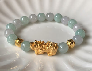 A Grade Mint Green and Lavender White Jadeite Jade Gold Pixiu Dragon Bead Bracelet JDB10105