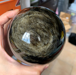 Large Mexico Gold Sheen Obsidian Stone Mineral Crystal Sphere - GOB10172