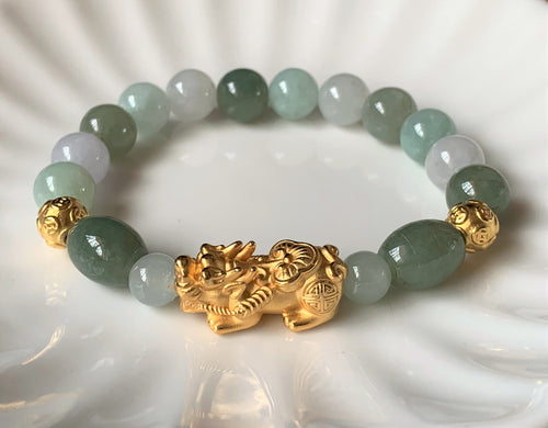 A Grade Mint Green and Lavender White Jadeite Jade Gold Pixiu Dragon Bead Bracelet JDB10106