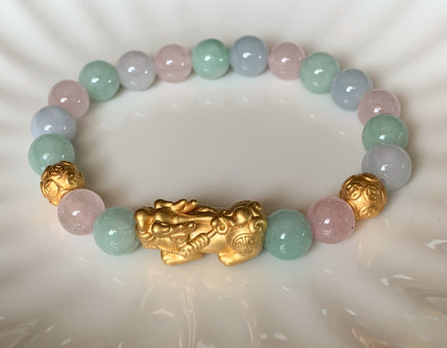 A Grade Pastel Green and Lavender Blue Jadeite Jade Gold or Silver Pixiu Dragon Bead Bracelet JDB10102