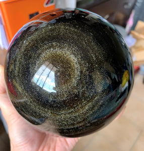 Large Mexico Gold Sheen Obsidian Stone Mineral Crystal Sphere - GOB10173