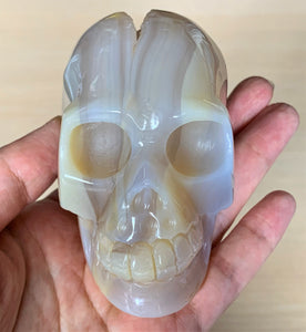 Blue Lace Agate Quartz Geode Hand Carved Realistic Crystal Human Skull Sculpture AG10190
