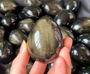 Gold Sheen Obsidian Egg Polished Crystal Stone Decor