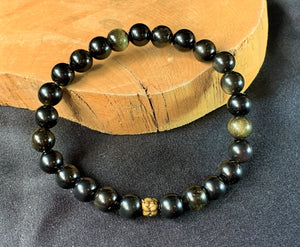 Gold Sheen and Rainbow Obsidian Crystal Stone Beads Bracelet