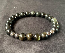 Gold Sheen and Rainbow Obsidian Hermatite Crystal Stone Beads Bracelet