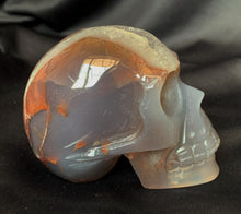 Blue Lace Agate Quartz Geode Hand Carved Realistic Crystal Human Skull Sculpture AG10197