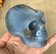 Blue Lace Agate Quartz Geode Hand Carved Realistic Crystal Human Skull Sculpture AG10198