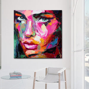 Poster of portrait Francoise Nielly , painting of Palette knife Face ,Pop art handed painting Impasto figure on canvas