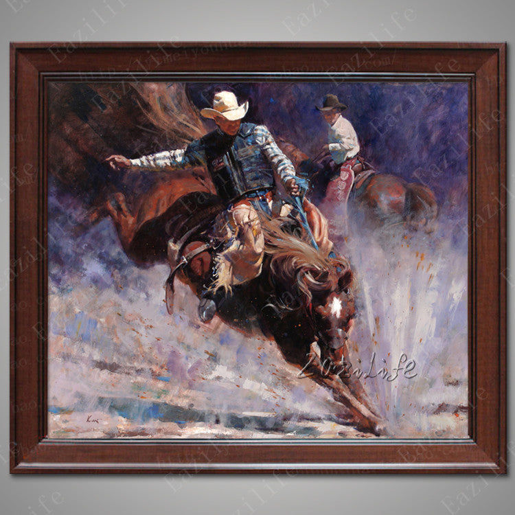 Hand painted canvas oil paintings Western Cowboy Oil painting on canvas wall pictures for living room wall art canvas Horse 14