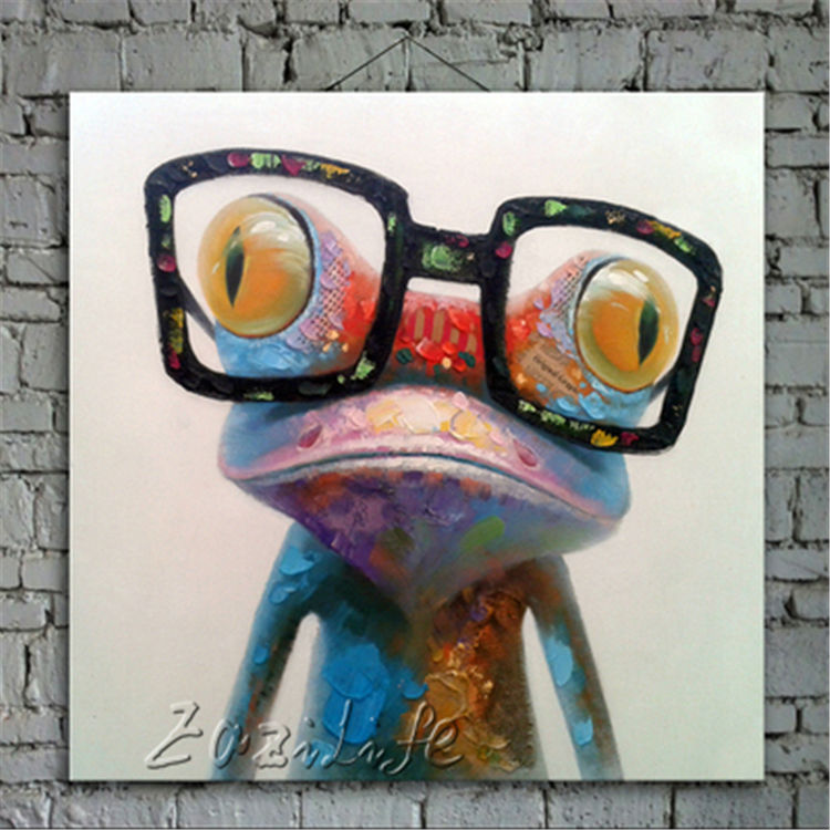 Frog Pop art Oil painting Canvas Wall Art Pictures For Living Room Modern Abstract Hand Painted Quadros Cuadros Home Decoracion