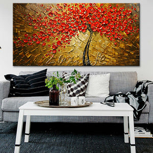 Modern Hand Painted palette knife 3D texture Flower and Tree on Canvas Oil Painting Wall Pictures For Living Room decorative 1