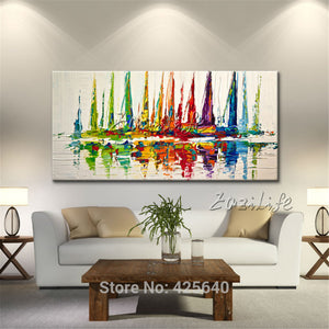 Yacht Canvas oil painting Hand painted modern abstract boat ship sailing Wall  Pictures for living room home decor wall art
