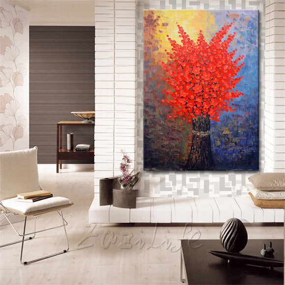 Canvas Painting Hand Painted palette knife 3D texture Flower Tree Wall Pictures For Living Room Christmas decorations for home74