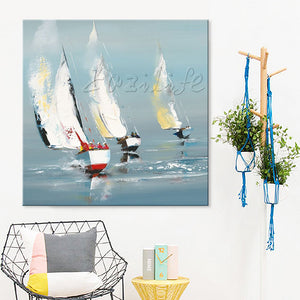 Yacht boat sailing painting cuadros decoracion Wall Pictures for Living room home decor art wall canvas painting palette knife