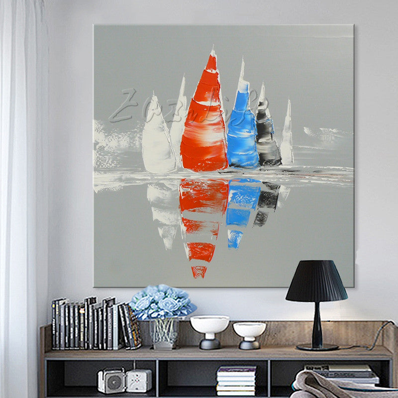 Hand painted boat Canvas Oil painting Wall Pictures for Living room wall decor art canvas painting palette knife boat 38