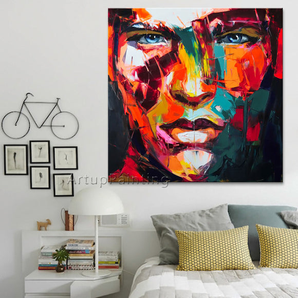 Francoise Nielly Palette knife painting portrait Palette knife Face Oil painting Impasto figure on canvas Hand painted 13-37