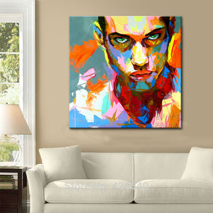 Painting portrait Palette knife Face Oil painting Impasto figure on canvas Hand painted Francoise Nielly Man Face