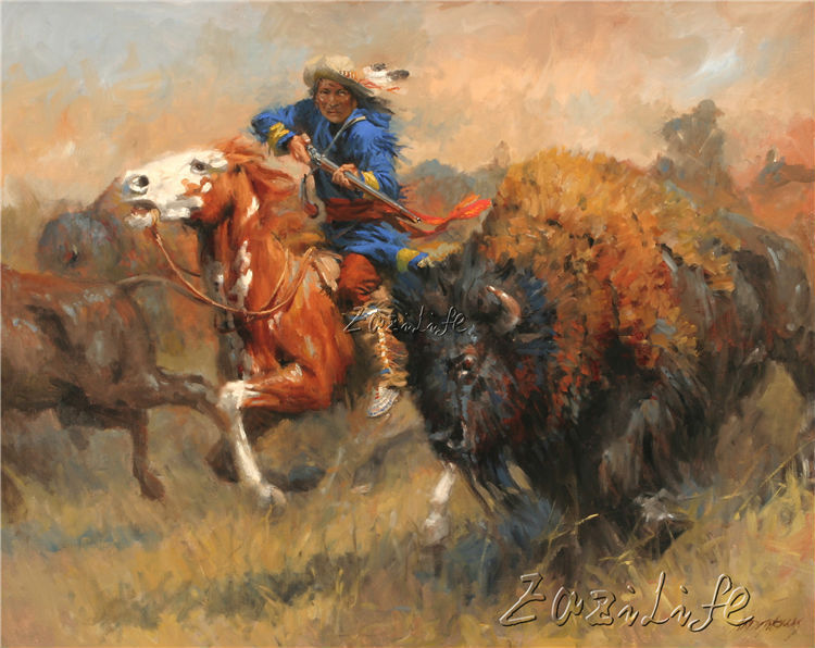 Cowboy Oil painting Picture Printed on canvas 5