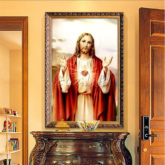 Home Decor Jesus Christ Painting Sacred Heart Of Jesus Heart Art Decor Painting Print Giclee Art Print On Canvas Ready to Frame