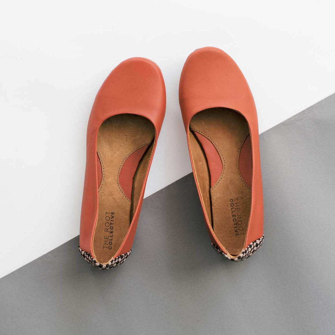 Gaby Flat in Brick Leather