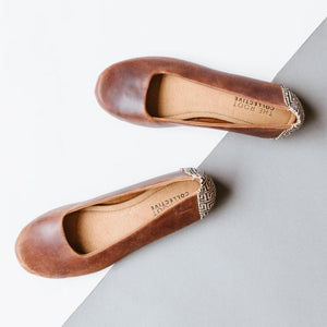 Gaby Flat in Chestnut Leather