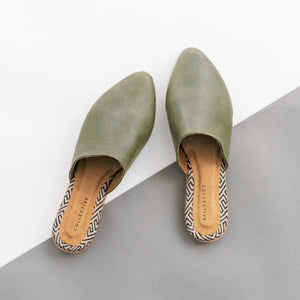 Lili Mule in Olive Leather
