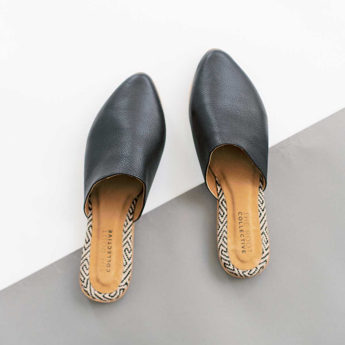 Lili Mule in Pebbled Black Leather