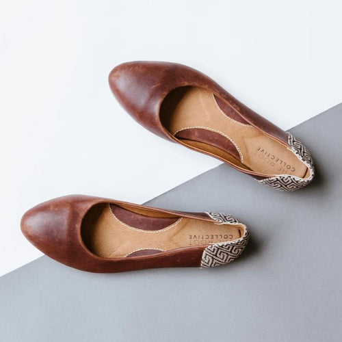Thea Flat in Chestnut Leather