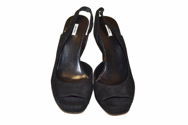 Miu Miu Black Suede Leather Pumps Shoes - Size 37.5