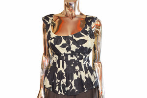 Moschino Black And Beige Floral Tank Top Size 4