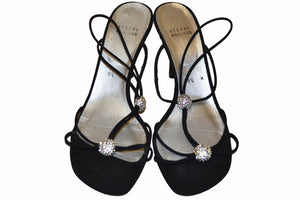 Stuart Weitzman Black Fabric Sandals Size 8.5